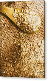 Wooden Tablespoon Serving Of Uncooked Brown Rice Acrylic Print by Jorgo Photography - Wall Art Gallery