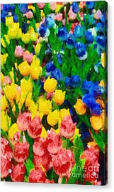 Wooden Tulips In Amsterdam Acrylic Print by George Atsametakis