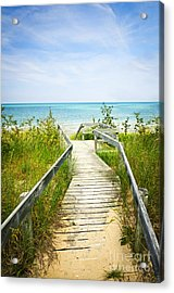 Wooden Walkway Over Dunes At Beach Acrylic Print