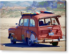 Woodie On The Beach Acrylic Print by Tamyra Crossley