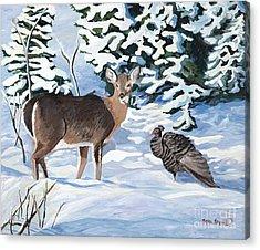 Woodland Creatures Meet Acrylic Print by Stella Sherman