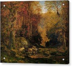 Woodland Interior Acrylic Print by Thomas Moran