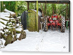 Woodshed In Winter Acrylic Print by David Birchall