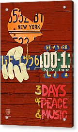 Woodstock Music Festival Poster License Plate Art Acrylic Print
