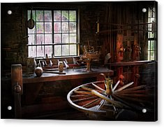 Woodworker - The Wheelwright Shop  Acrylic Print by Mike Savad