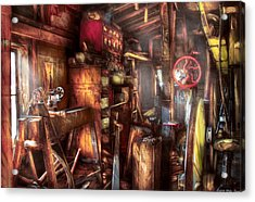 Woodworker - The Workshop Of A Very Busy Person Acrylic Print by Mike Savad