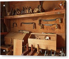 Woodworking Tools In Carpentry Shop Acrylic Print by William Sutton