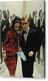 Woody Allen Posing With A Model Holding Acrylic Print by David Mccabe