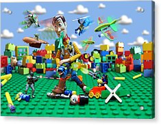 Woody Vs The Little Guys Acrylic Print by Randy Turnbow
