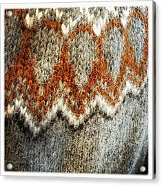 Woolen Jersey Detail Grey And Orange Acrylic Print