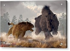 Woolly Rhino And Cave Lion Acrylic Print by Daniel Eskridge