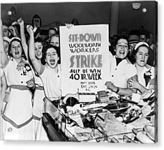 Woolworth Workers Strike Acrylic Print by Underwood Archives