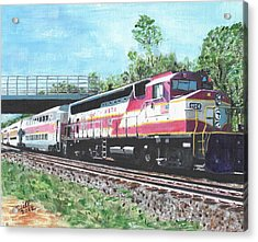 Worcester Bound T Train Acrylic Print by Cliff Wilson