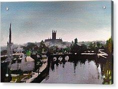 Worcester Skyline Acrylic Print by Paul Mitchell