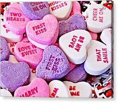 Acrylic Print featuring the photograph Valentine Candy Hearts by Vizual Studio
