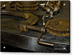 Acrylic Print featuring the photograph Work Bench Rusty Tools And Motorcycle Sprockets  by Wilma  Birdwell