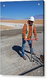 Worker Digging A Bore Hole Acrylic Print by Jim West