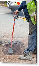 Worker Using A Compressed Air Soil Picker Acrylic Print by Ashley Cooper