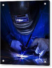 Worker Welding The Steel Part Acrylic Print by Anek Suwannaphoom