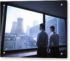 Workers Looking Out Over Power Station Acrylic Print by Monty Rakusen
