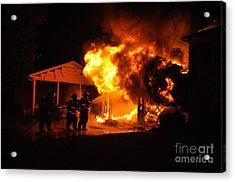 Working Garage Fire Acrylic Print by Steven Townsend