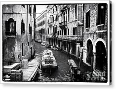 Working On The Canal Acrylic Print by John Rizzuto