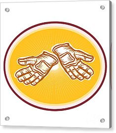 Workman Utility Gloves Retro Acrylic Print by Aloysius Patrimonio