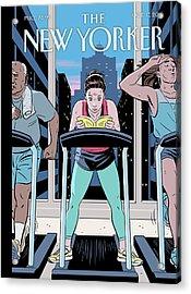 Workout Reading Acrylic Print by R. Kikuo Johnson