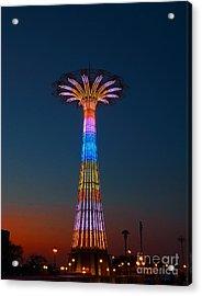 World Famous Parachute Jump In Coney Island Beach Acrylic Print