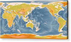 World Geographic Map Enhanced Acrylic Print by L Brown
