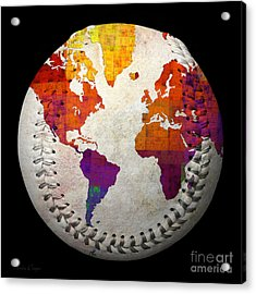 World Map - Rainbow Bliss Baseball Square Acrylic Print by Andee Design