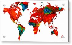 World Map 12 - Colorful Red Map By Sharon Cummings Acrylic Print by Sharon Cummings