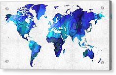 Acrylic Print featuring the painting World Map 17 - Blue Art By Sharon Cummings by Sharon Cummings