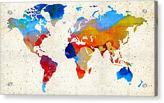 World Map 18 - Colorful Art By Sharon Cummings Acrylic Print by Sharon Cummings