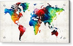 World Map 19 - Colorful Art By Sharon Cummings Acrylic Print by Sharon Cummings