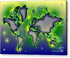 World Map Amuza In Blue Yellow And Green Acrylic Print by Eleven Corners