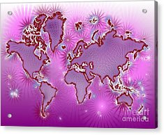 World Map Amuza In Pink And Purple Acrylic Print by Eleven Corners