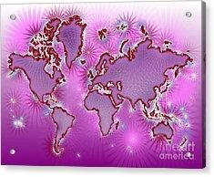 World Map Amuza In Pink And Purple Acrylic Print