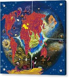 World Map And Barack Obama Stars Acrylic Print by Augusta Stylianou