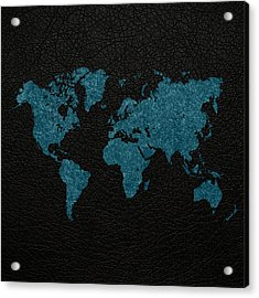 World Map Blue Vintage Fabric On Black Leather Acrylic Print by Design Turnpike