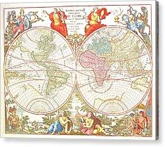 World Map C1694 Acrylic Print by Safran Fine Art