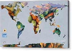 World Map Cezanne 1 Acrylic Print by John Clark