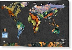 World Map  Cezanne 2 Acrylic Print by John Clark