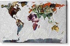 World Map   Degas 4 Acrylic Print by John Clark