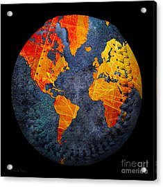 World Map - Elegance Of The Sun Baseball Square Acrylic Print by Andee Design
