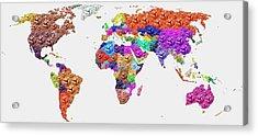 World Map - Soccer Football 2014 Acrylic Print