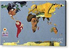 World Map  Gauguin Acrylic Print