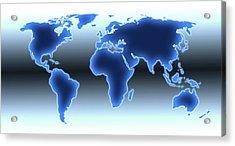 World Map Illustration Acrylic Print by Alfred Pasieka