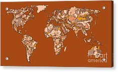 World Map In Sepia Acrylic Print by Adendorff Design