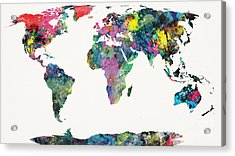 World Map Acrylic Print by Mike Maher